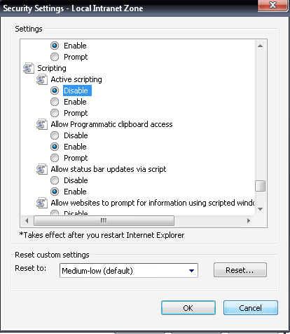 Step 3 >> Disable Active Scripting (Disabling javascript IE)