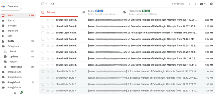 Mailbox filled with Cpanel Hulk Brute force emails.