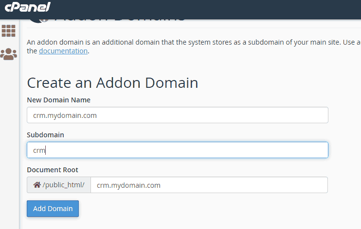 Adding a subdomain on different server using addon domain feature of cpanel/whm