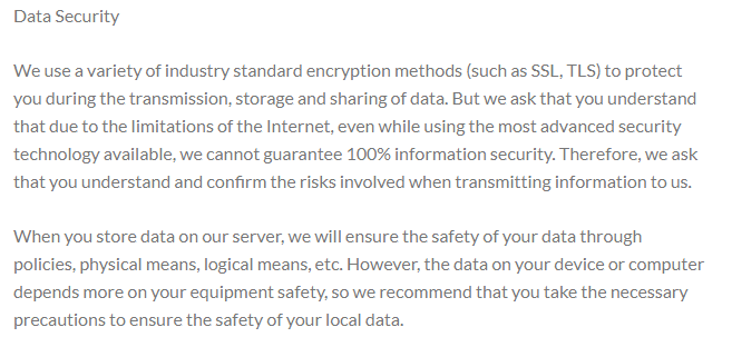 Is milansetu video conferencing app safe? screenshot from their privacy policy as on 19th June 2020.