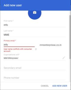 User name Conflicts with consumer account - gsuite add user error